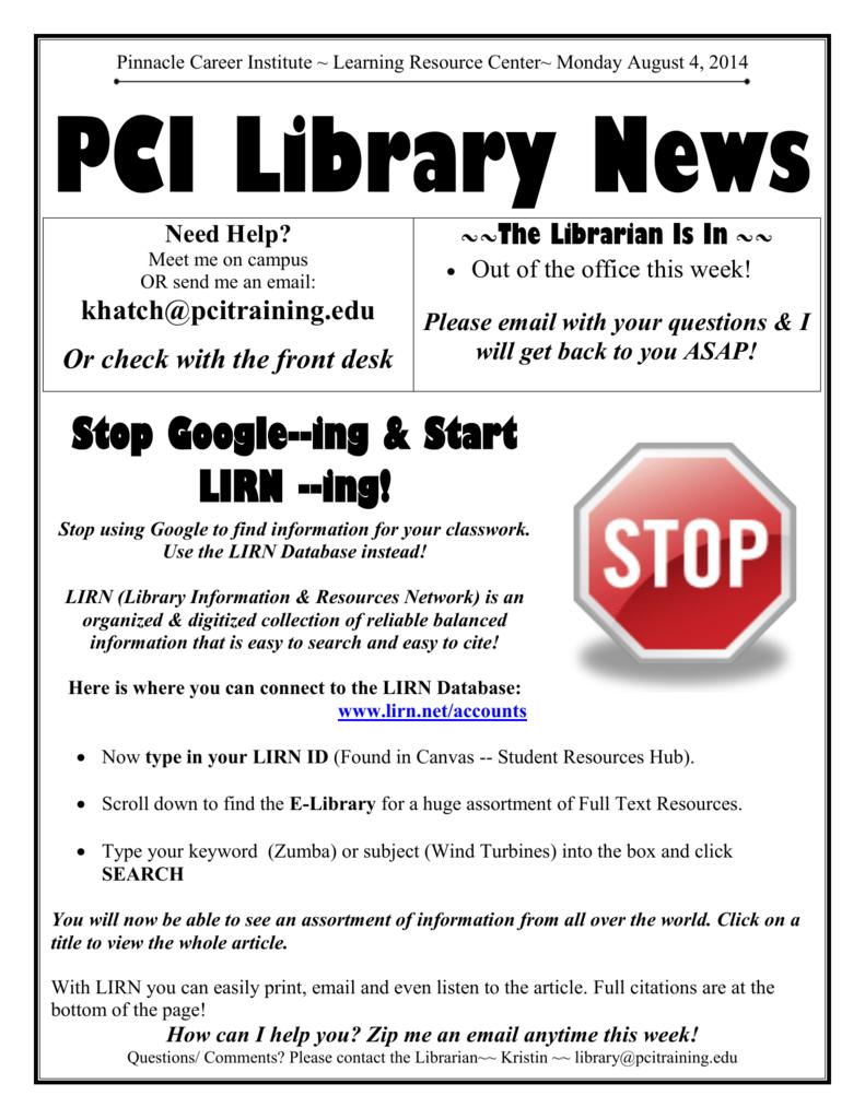 Stop Google--ing & Start LIRN --ing!