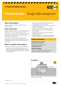 Food industry – Dough roller entrapment