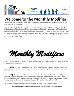 Welcome to the Monthly Modifier.