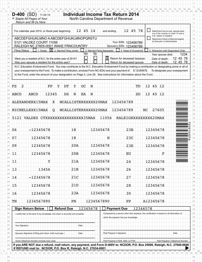 D400 Nc Tax Form 2014 Heartpulsar