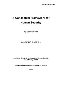 A Conceptual Framework for Human Security