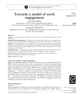 Towards a model of work engagement