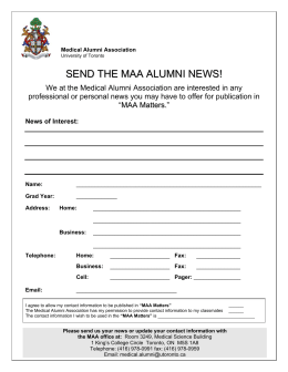 SEND THE MAA ALUMNI NEWS! - University of Toronto Medical