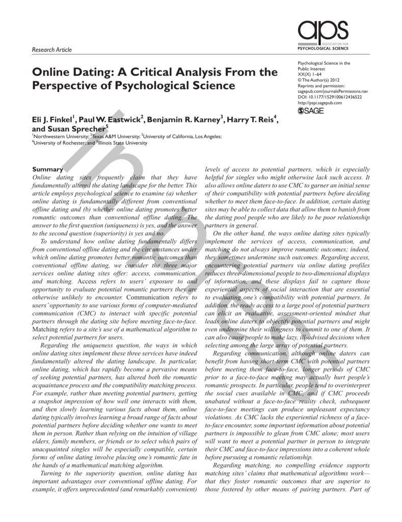 research articles on online dating