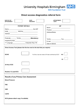 Cardiology direct access diagnostics referral form for GP use