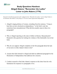 "Study Questions Handout: Abigail Adams: ""Remember the Ladies"