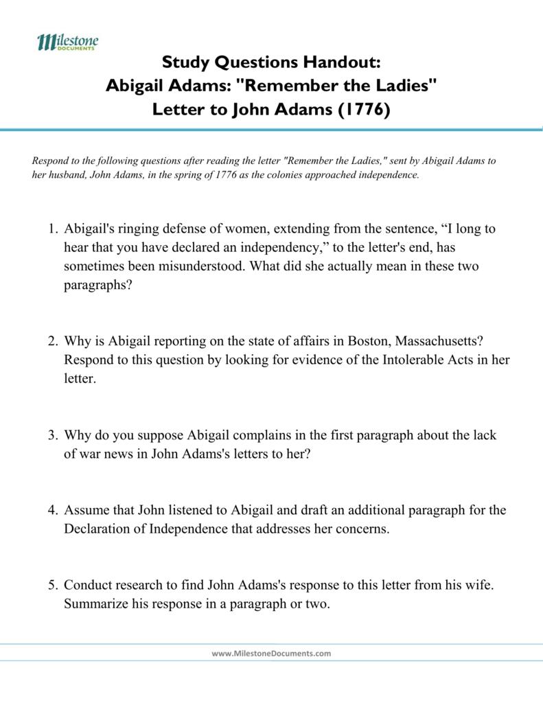 Study Questions Handout Abigail Adams
