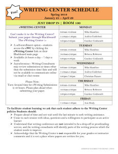writing center schedule - Nashua Community College