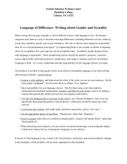 Language of Difference: Writing about Gender