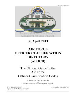 30 April 2013 AIR FORCE OFFICER CLASSIFICATION DIRECTORY