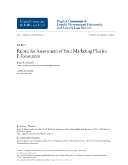 Rubric for Assessment of Your Marketing Plan for E