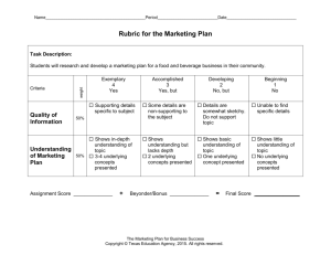 Rubric for the Marketing Plan