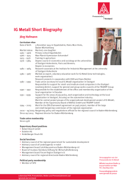 IG Metall Short Biography - IG Metall Gewerkschaftstag 2013