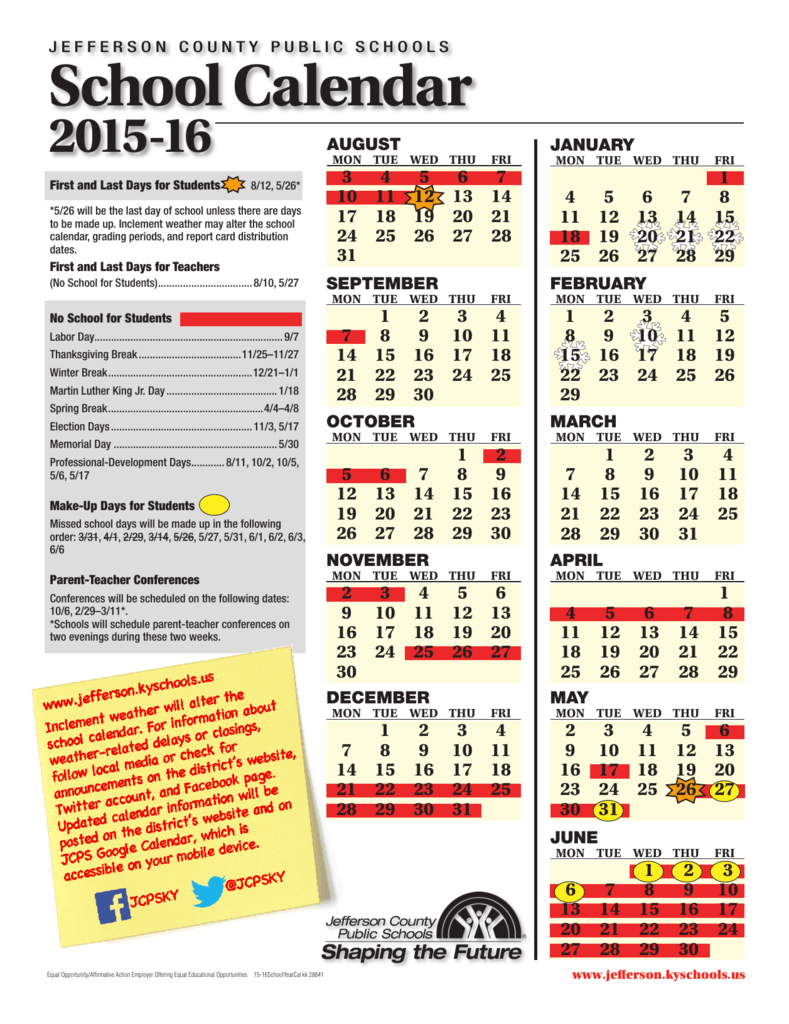 School Calendar Jefferson County Public Schools