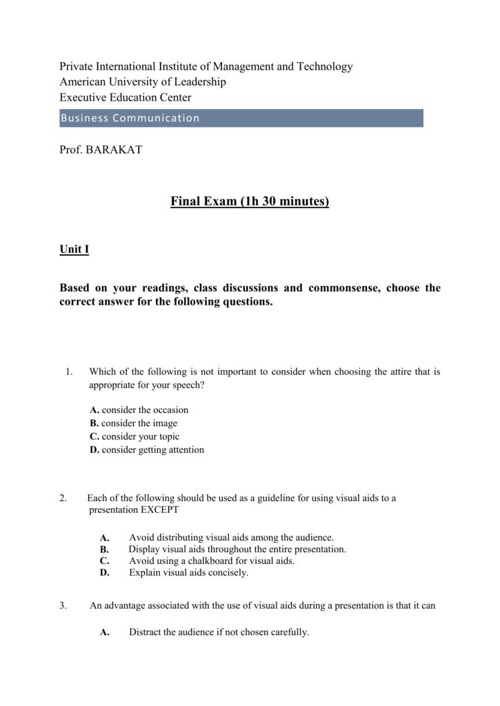 Final Exam (1h 30 minutes)