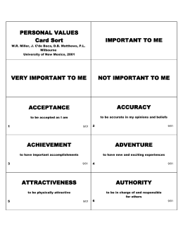 PERSONAL VALUES PERSONAL VALUES Card Sort IMPORTANT