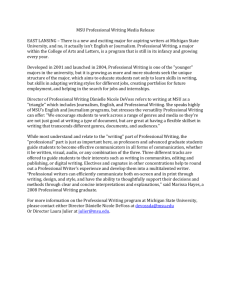 MSU Professional Writing Media Release EAST LANSING – There