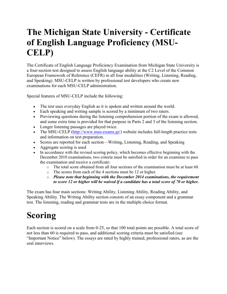 Michigan Test Of English Language Proficiency Sample