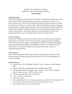MODL AP French Syllabus 2015