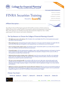 FINRA Securities Training - College for Financial Planning