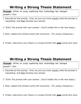 thesis response sheet For examples of development of a claim (a thesis is a type of claim), see the developing a thesis handout for additional guidance on this point  the basic tenets of the guide, however, can apply to argumentation in multiple disciplines—eg, a response to a document-based question in social science, a lab report in science.