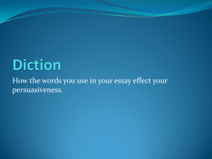 Power Point: Diction in your persuasive essay