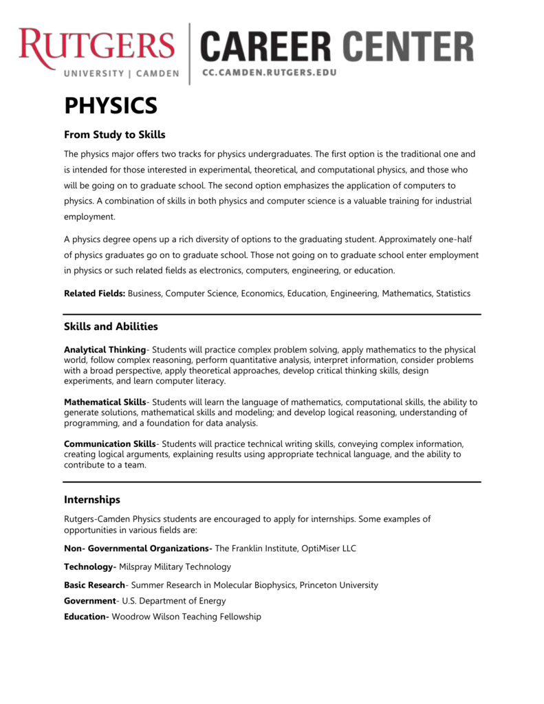 physics - Rutgers-Camden Career Center