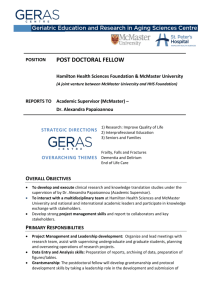 post doctoral fellow - Hamilton Health Sciences