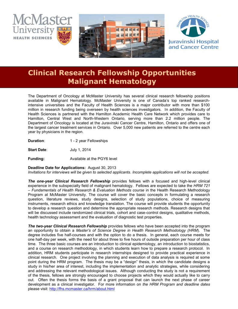 Clinical Research Fellowship Opportunities in Malignant