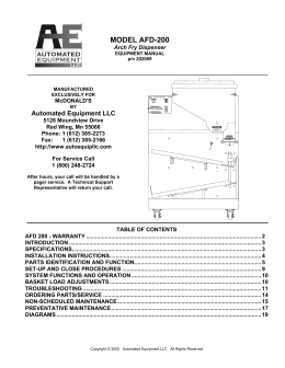 Arch Fry System - Commercial Parts & Service Inc.