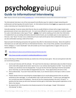 Guide to Informational Interviewing