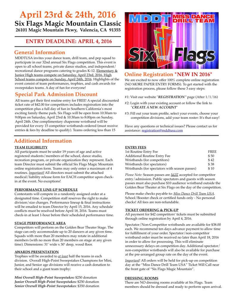six flags app packet - Miss Dance Drill Team USA
