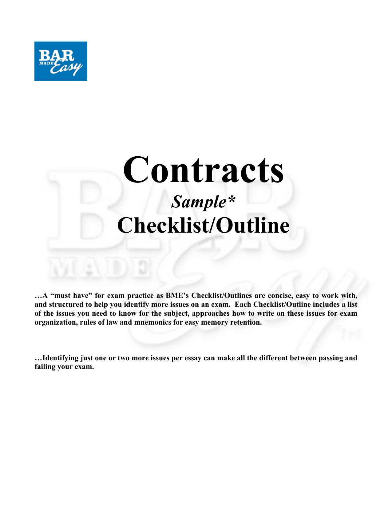 contracts exam cheat sheet