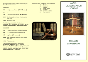 MOYS CLASSIFICATION SCHEME CRAVEN LAW LIBRARY