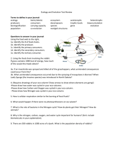 Ecology and Evolution Test Review Terms to define in your journal