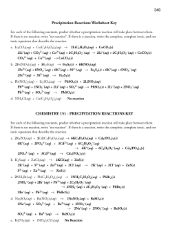 Worksheets Precipitation Reaction Worksheet precipitation reactions and solubility worksheet key