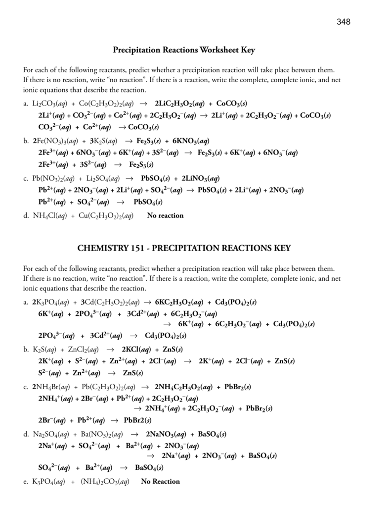 Precipitation Reactions Worksheet Key