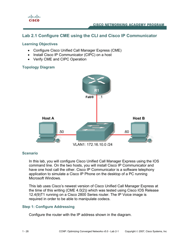 Lab 2 1 Configure CME using the CLI and Cisco IP Communicator