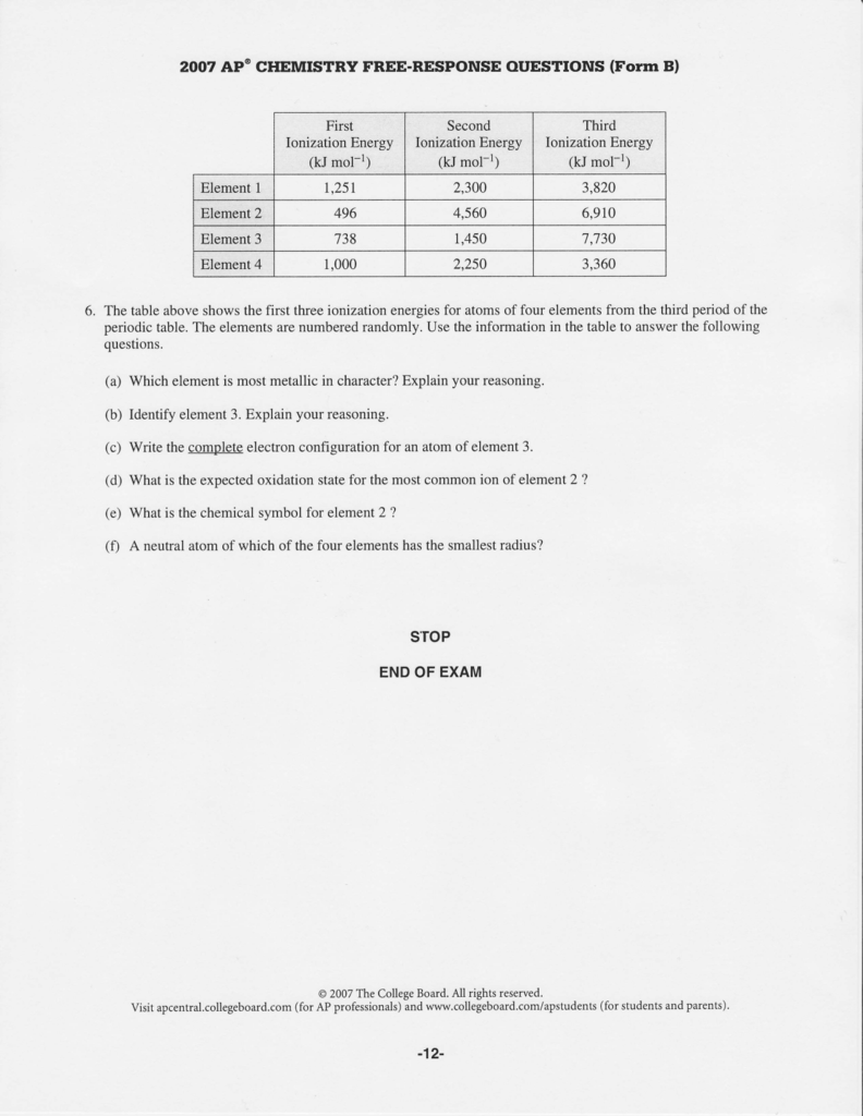 2OO7 AP@ CHEMTSTRY FREE-RESPONSE OUESTIONS (Form B