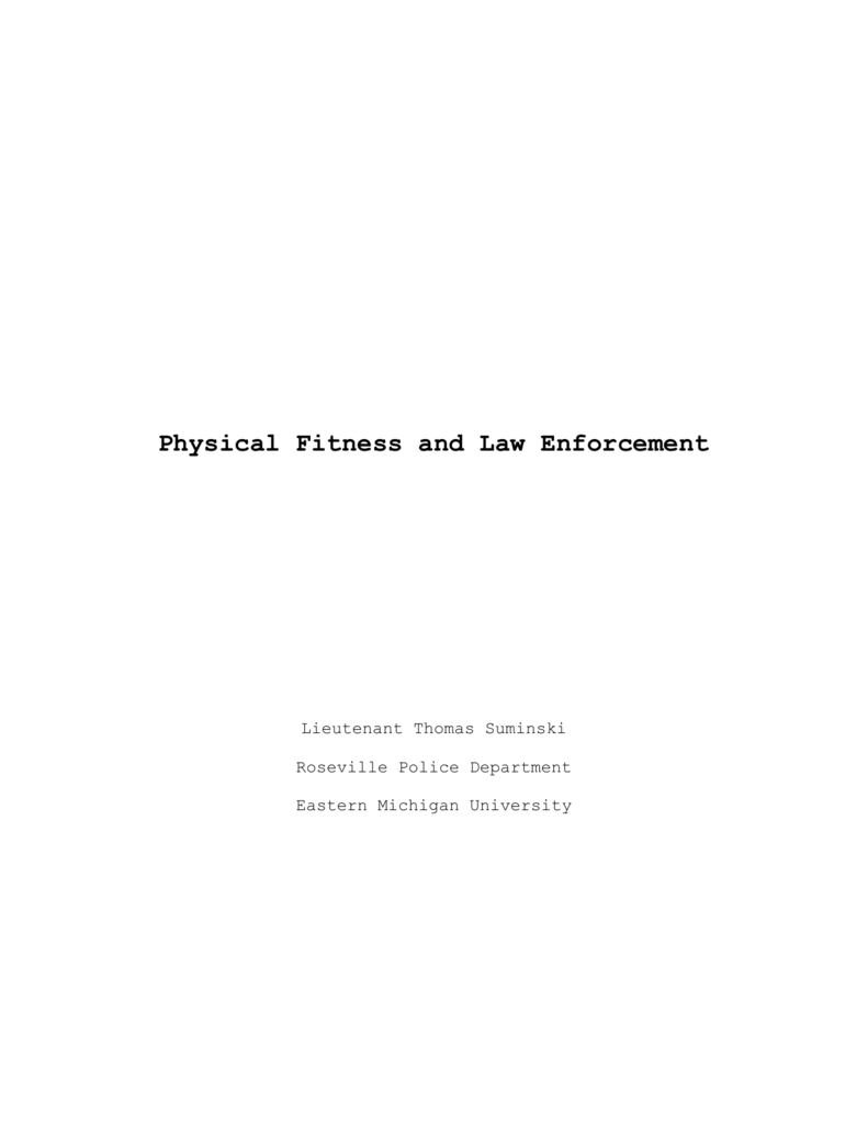 Physical Fitness and Law Enforcement