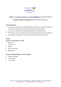 Old Testament Foundations (OT201)