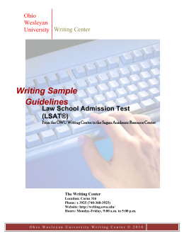 LSAT Writing Sample Guidelines