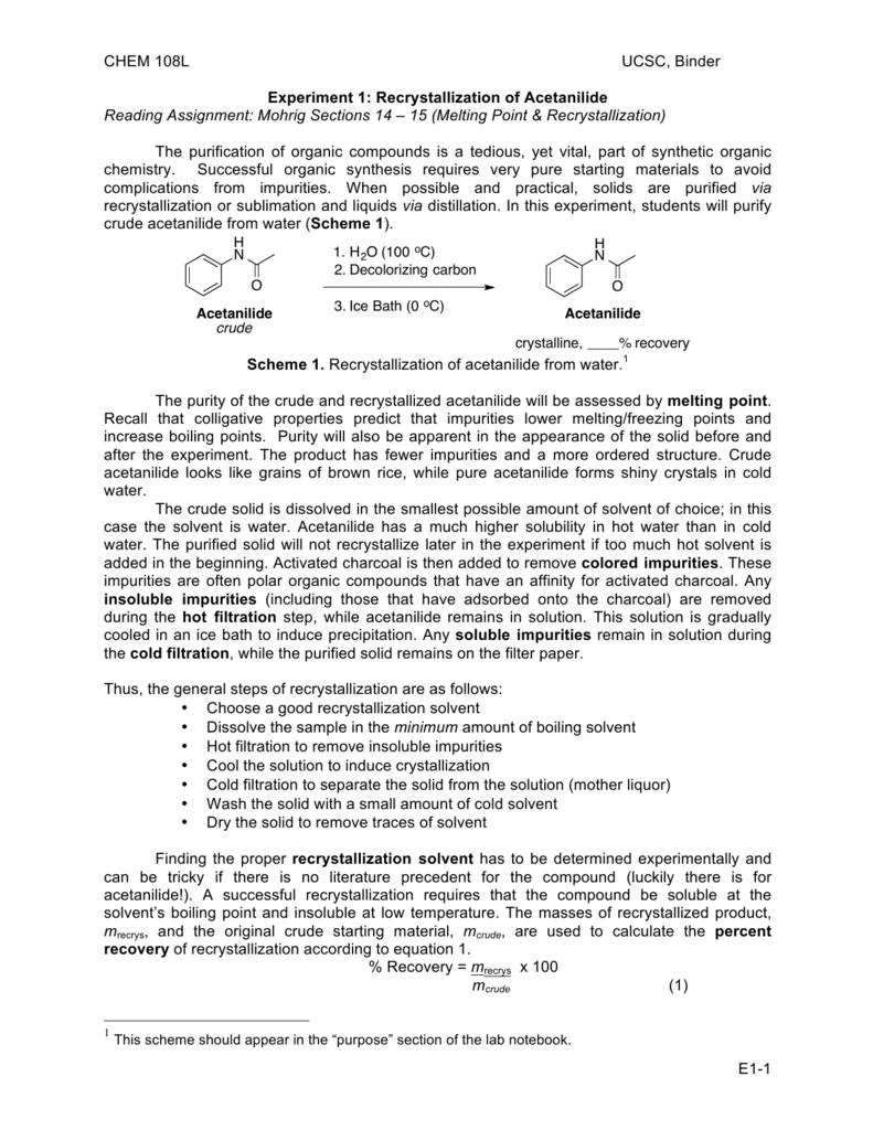 purifying acetanilide by recrystallization lab report