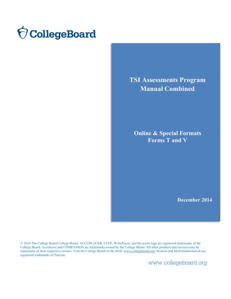 TSI Assessments Program Manual Combined