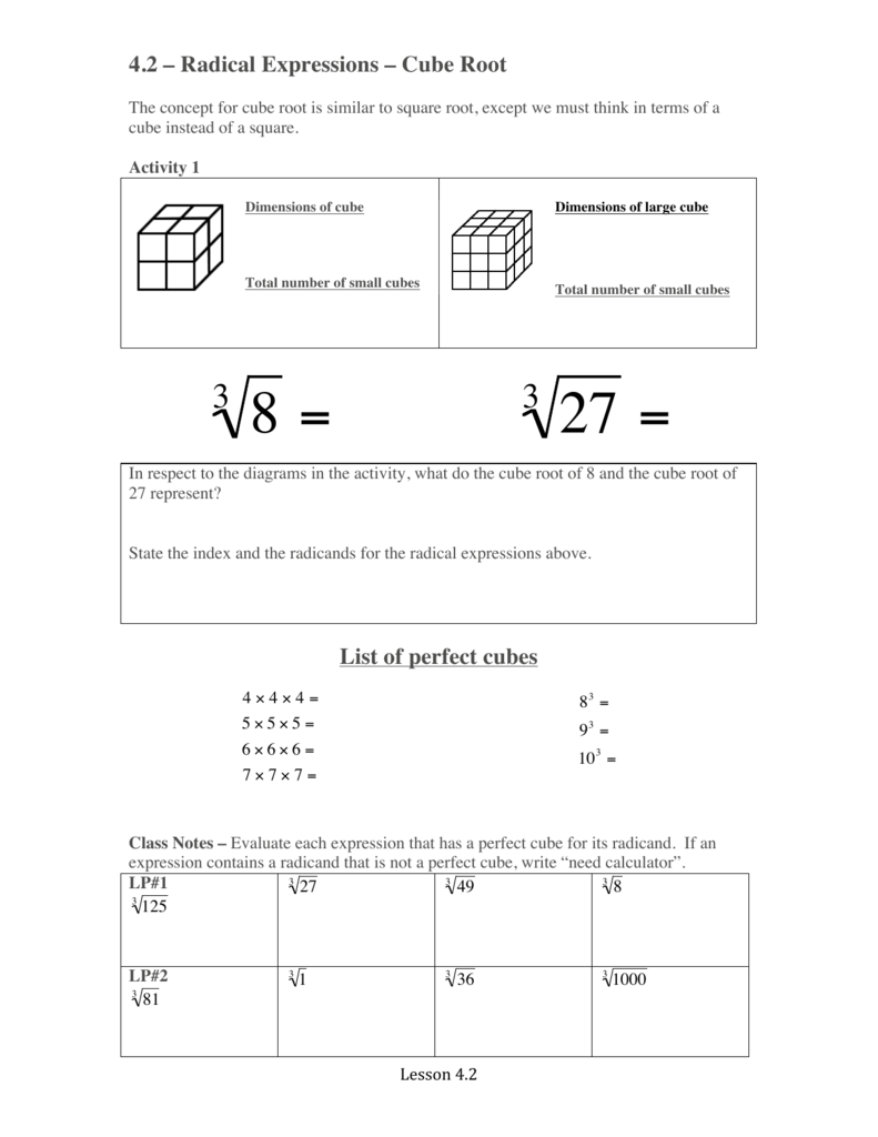 42 Radical Expressions Cube Root List Of Perfect Cubes