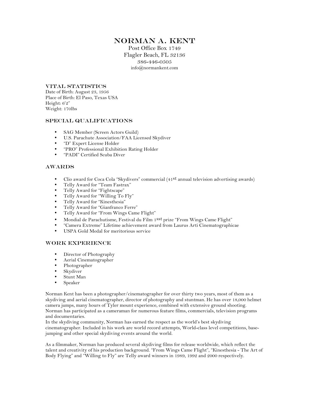 Resume - Norman Kent Productions