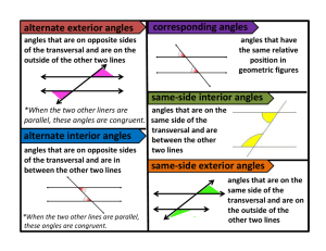 Parallel lines angle relationships project - Definition of interior and exterior angles ...