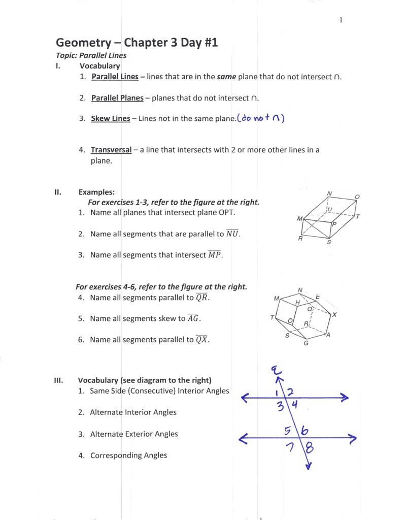 Chapter 3 Geometry Handouts