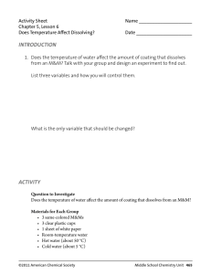Activity Sheet - Middle School Chemistry