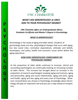psychology - Gerontology at UNC Charlotte!
